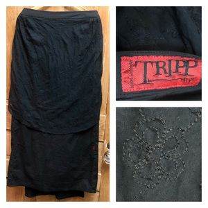 Tripp Layered Black Skirt with Embroidered Train L